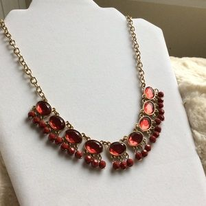 Amber Beaded Statement Necklace.